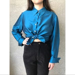 [vintage] pure silk teal button up blouse